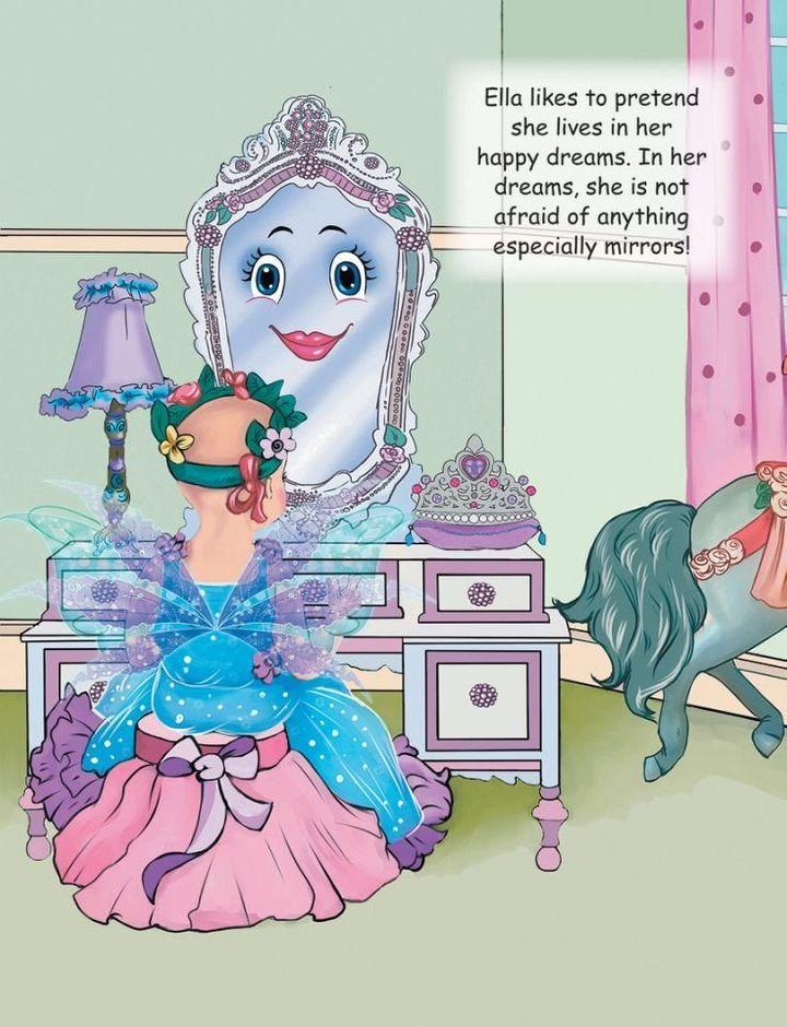 Ella confidently looks into the mirror.