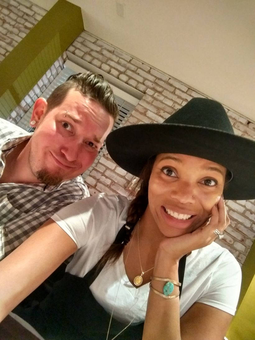 Micah & I taking a break from our cooking lesson on Day Two of the Camry Southern Road Trip: Savannah, GA.