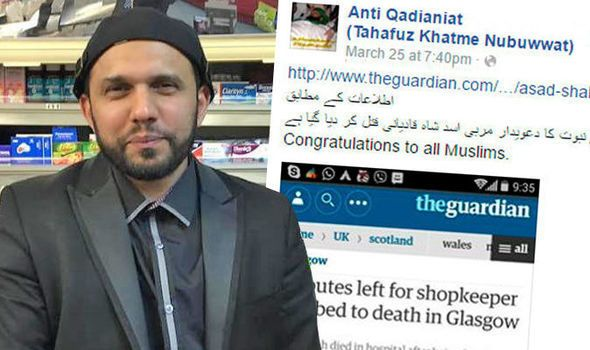 "Asad Shah was murdered for being an Ahmadi Muslim on 24 March 2016 in Glasgow, U.K.. The ""Khatme Nabuwwat"" hate group sent on"