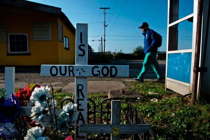 <p>A memorial in Huntington, West Virginia, the city often portrayed as the epicenter of the opioid crisis.</p>