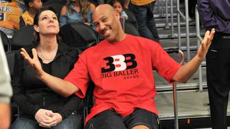LOS ANGELES, CA - NOVEMBER 21:  LaVar Ball (R) and Tina Ball attend a basketball game between the Los Angeles Lakers and the Chicago Bulls at Staples Center on November 21, 2017 in Los Angeles, California.  (Photo by Allen Berezovsky/Getty Images)