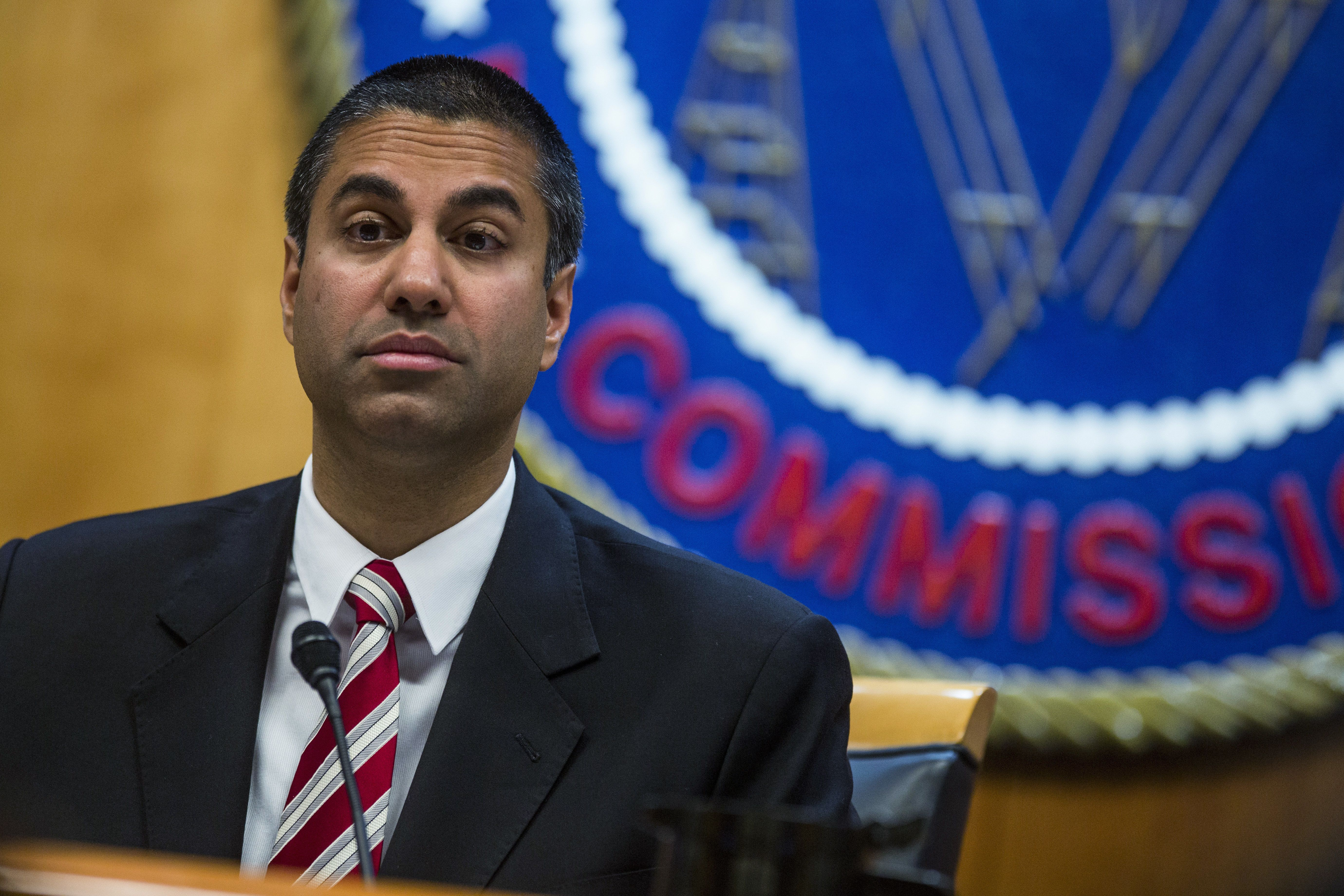 Ajit Pai, the Trump-appointed chairman of the Federal Communications Commission, speaks during an open meeting on Nov. 16.
