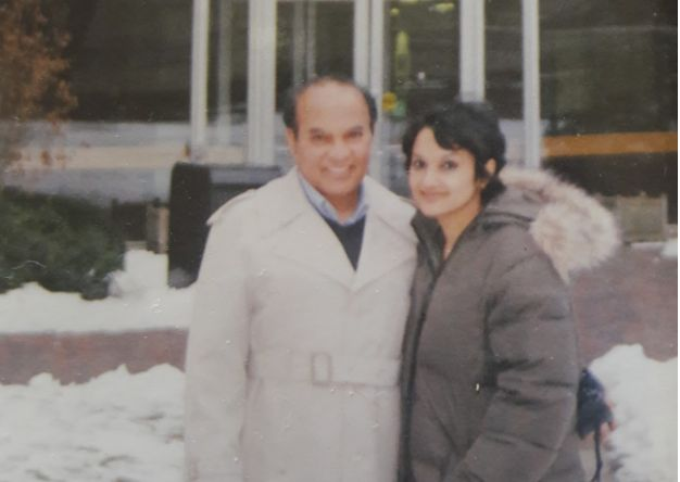 Mou and her father Abdul Majid Khan at the JFK School of Government, 2008