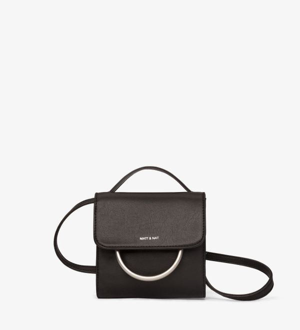 "Get this vegan leather crossbody for under $100 <a href=""http://mattandnat.com/shop/collections/holiday-collection/suri-black"