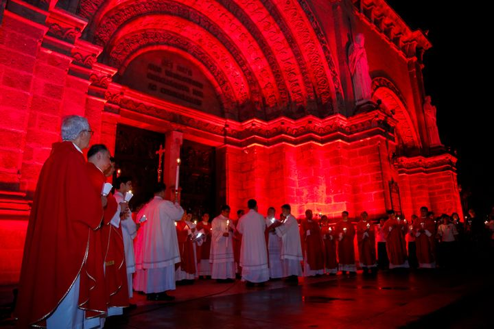 TheManila Cathedral in the Philippines lights up for #RedWednesday on Nov. 22.