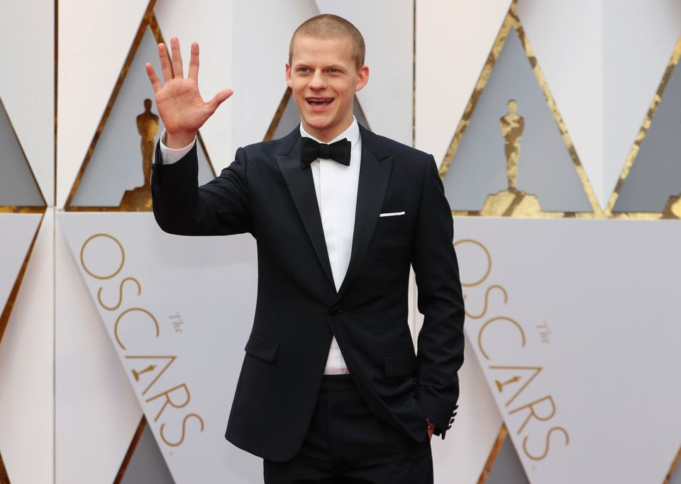 Lucas Hedges arrives at the Oscars on Feb. 26,