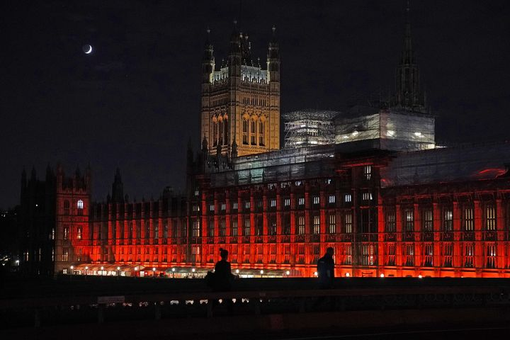 The Houses of Parliament were floodlit in red to remember all those killed, kidnapped, tortured or suffering because of their