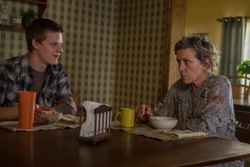 "Hedges and Frances McDormand in ""Three Billboards Outside Ebbing, Missouri."""