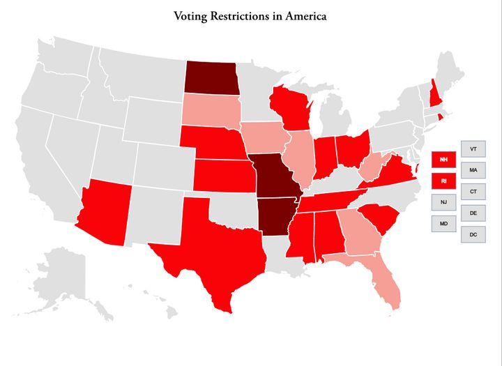 The states shown in light red had voting restrictions in place for the 2012 election. Those in darker red had restrictions in