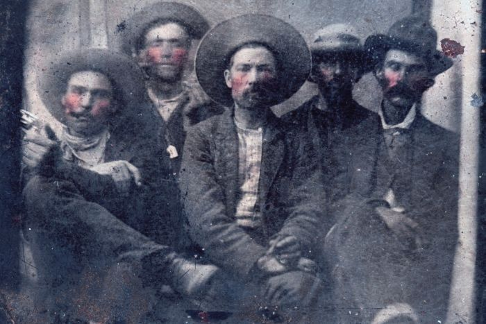Experts believe Bill the Kid is pictured second from left and Pat Garrett is on the far right