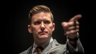 GAINESVILLE,FL-OCT19: Richard Spencer holds a press conference, October 19, 2017, at the University of Florida, in Gainesville, Florida.(Photo by Evelyn Hockstein/For The Washington Post via Getty Images)