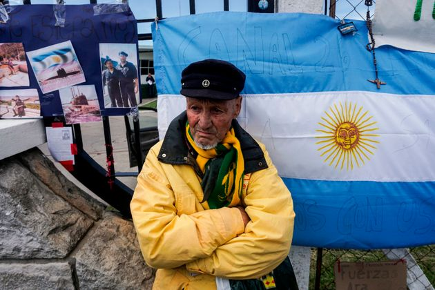 A man waits for news outside Argentina's Navy base in Mar del