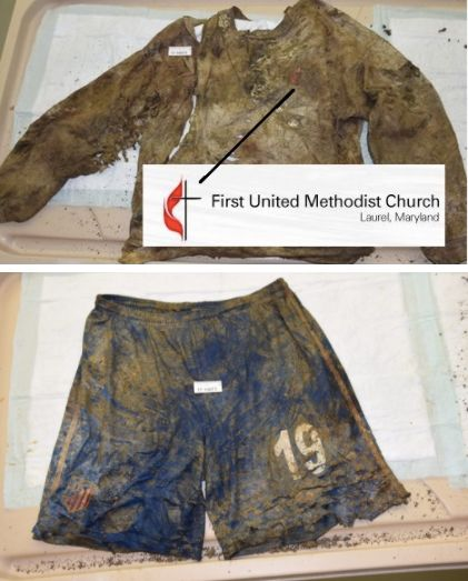 The victim was found wearing this gray United Methodist Church sweatshirt and these blue athletic shorts.