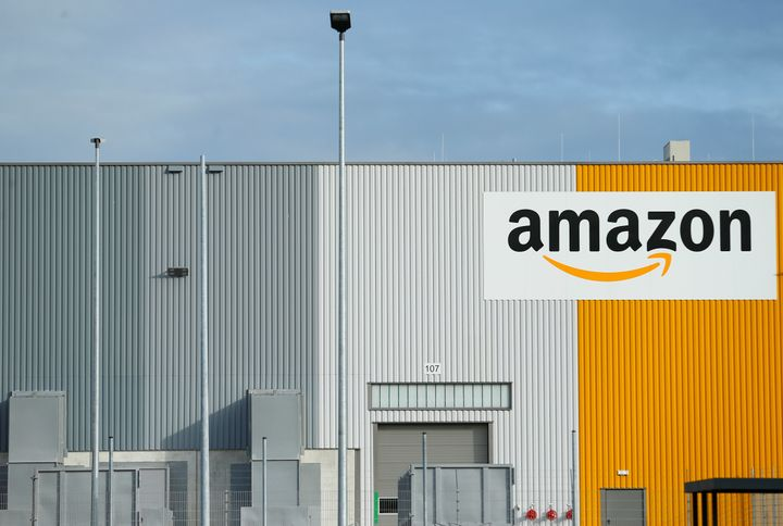 A view of the new Amazon logistic center with the company's logo in Dortmund, Germany.