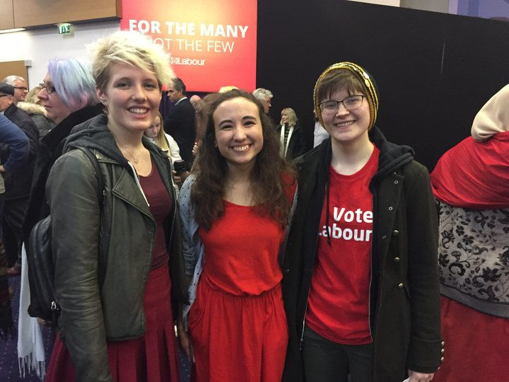 <strong>Students Erin Gilbey, Marcie Winstanley and Emma Gordon wore red especially for the Labour rally</strong>