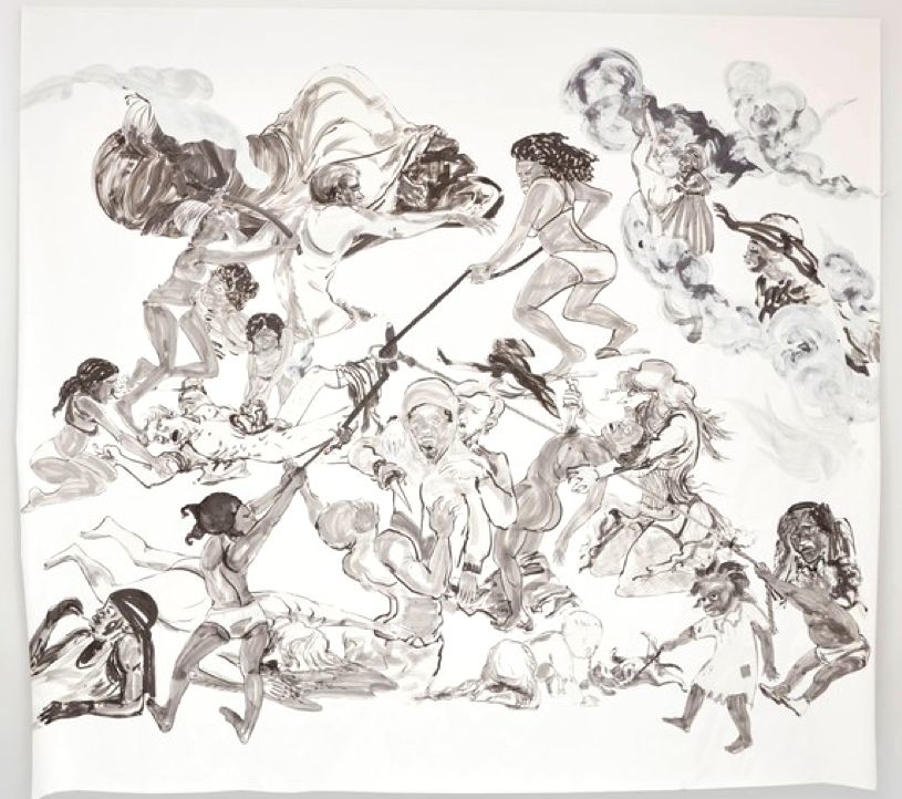 Kara Walker, <em>The Pool Party of Sardanapalus (After Delacroix, Keinholz)</em>, 2017.