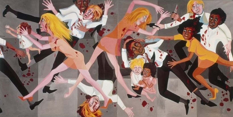 "Faith Ringgold, <em>American People Series #20: Die</em>, 1967, Oil on canvas, two panels,72 × 144"" (182.9 × 365.8 cm),"