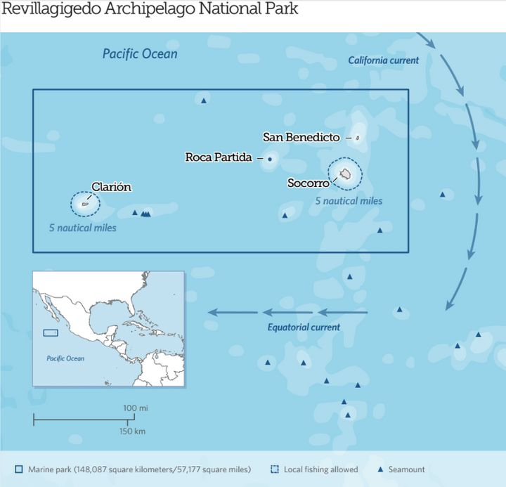 Mexico's Revillagigedo Archipelago National Park becomes North America's largest fully protected marine reserve.