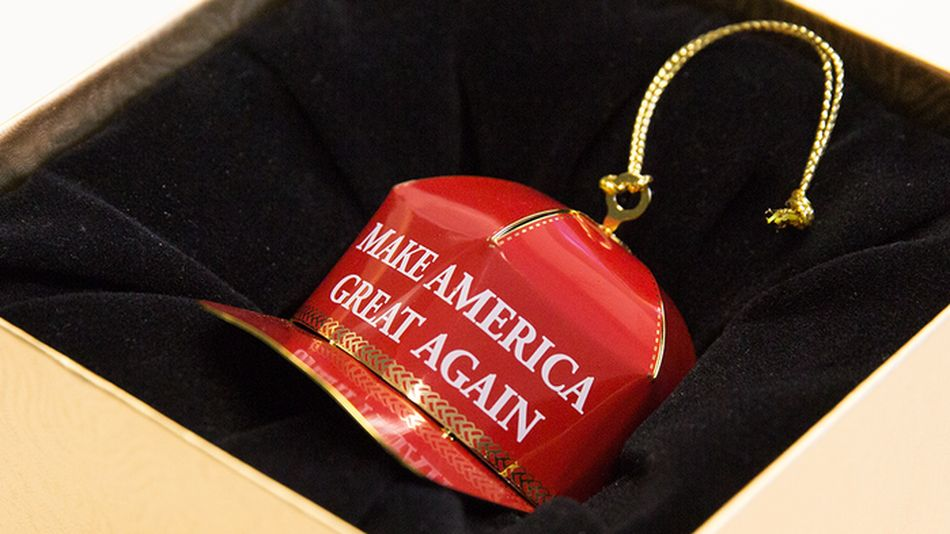 A Make America Great Again Christmas tree ornament
