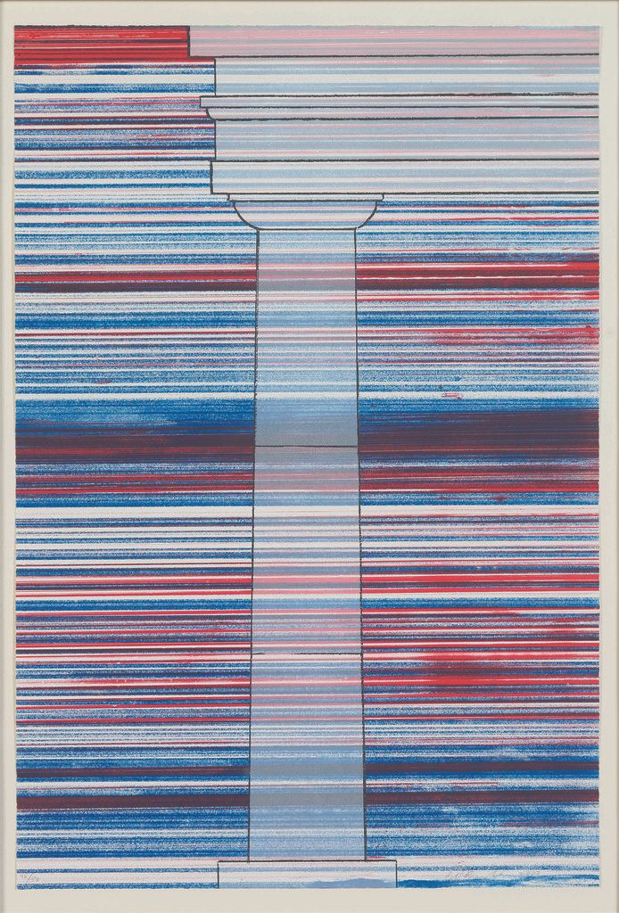 E<em>d Ruscha, COLUMN WITH SPEED LINES, 2003, 5-color lithograph and screenprint</em>