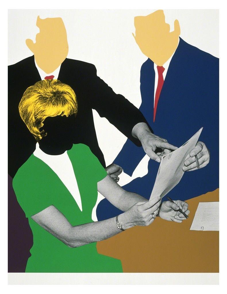 John Baldessari, THREE GOVERNMENT PERSONNEL CONSIDERING AND/OR DECIDING, 2008, 11-color screenprint