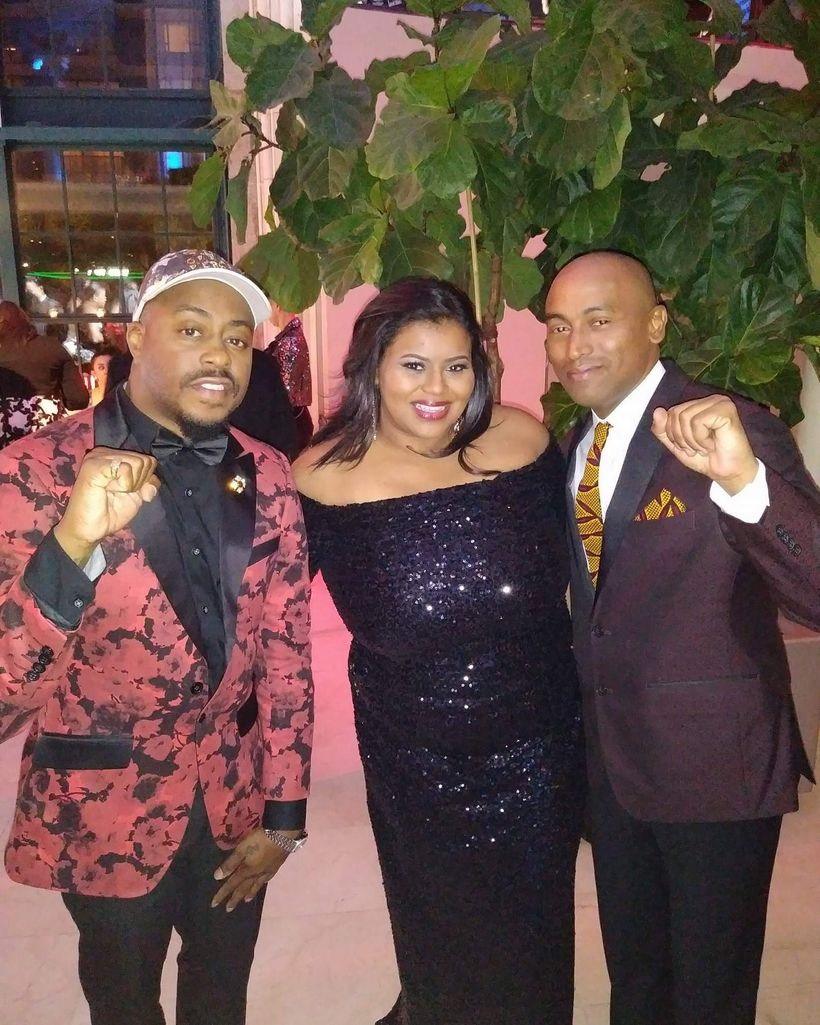 Syreta J. Oglesby attends The Root 100 Gala with clients and show performers, Raheem DeVaughn and Wes Felton, collectively kn