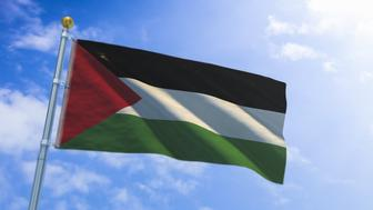 A stock digital 3D render of the Palestine flag.