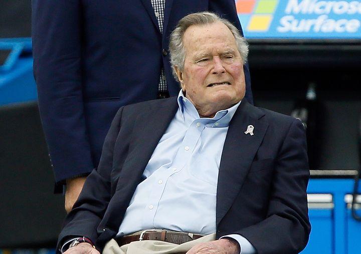 Former President George H.W. Bush appears at Houston's NRG Stadium on Nov. 5.