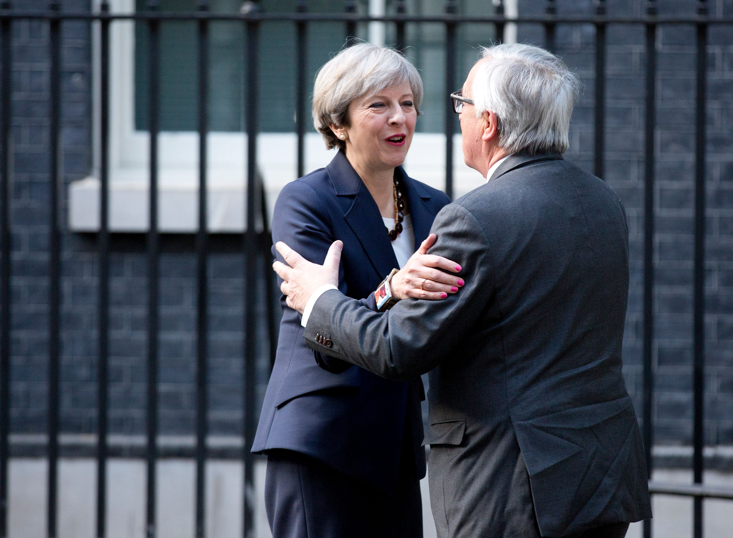 <strong>Theresa May welcomes EU chief Jean-Claude Juncker to Downing Street earlier this year</strong>