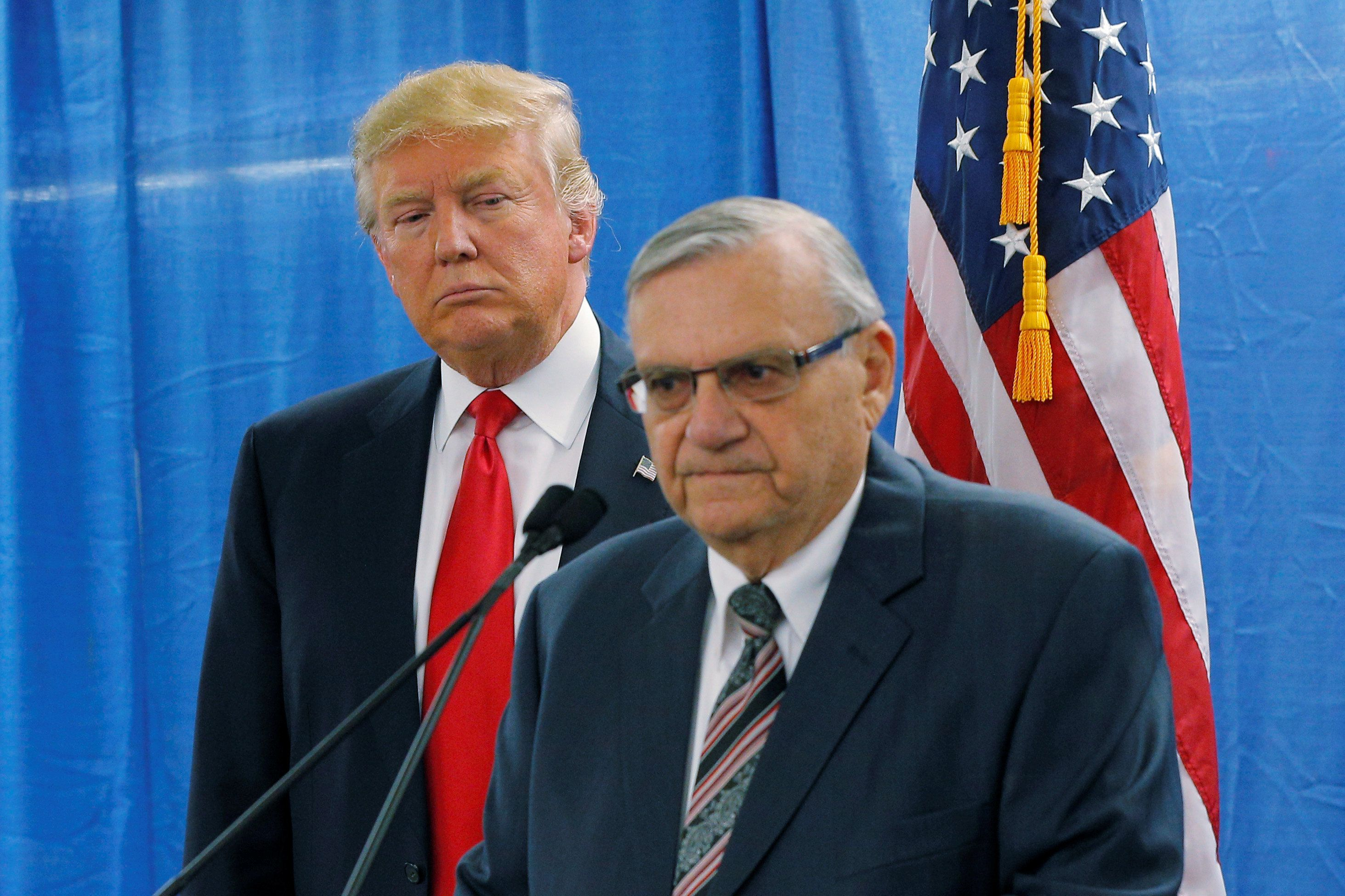 Maricopa County Sheriff Joe Arpaio talks up Donald Trump at a 2016 campaign rally in Arizona