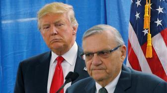 Maricopa County Sheriff Joe Arpaio talks up Donald Trump at a 2016 campaign rally in Arizona