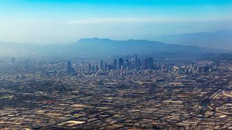 aerial of Los Angeles in fog