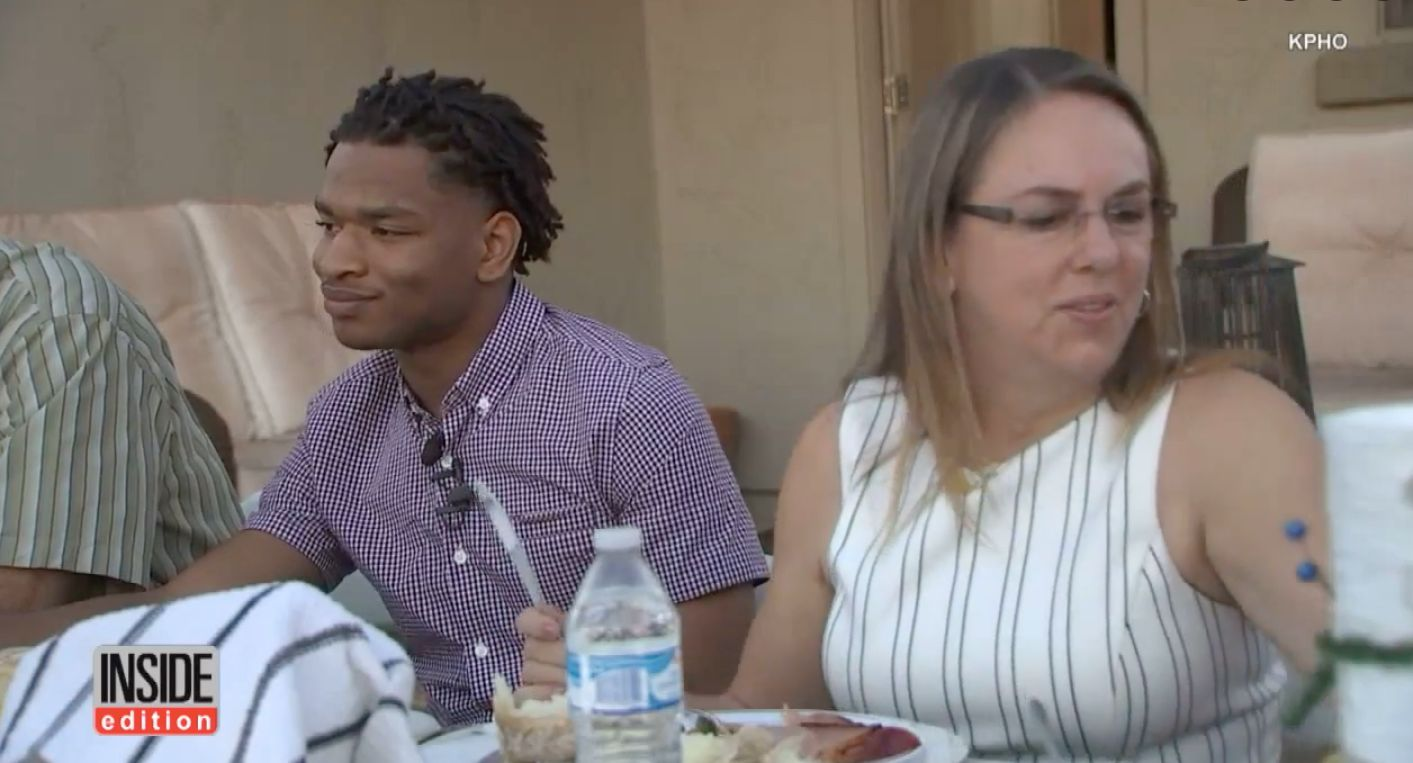 Jamal Hinton and Wanda Dench are seen during last years Thanksgiving day meal