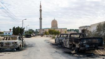 TOPSHOT - A picture taken on November 25, 2017, shows the Rawda mosque, roughly 40 kilometres west of the North Sinai capital of El-Arish, after a gun and bombing attack. Armed attackers killed at least 235 worshippers in a bomb and gun assault on the packed mosque in Egypt's restive North Sinai province, in the country's deadliest attack in recent memory.   / AFP PHOTO / STR        (Photo credit should read STR/AFP/Getty Images)