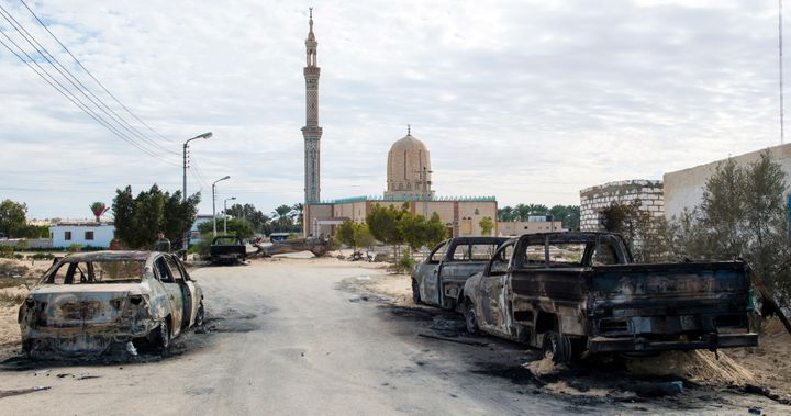 A picture showing the Al Rawdah mosque, where ISIS killed hundreds on Friday.