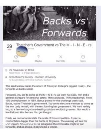 Durham University Rugby Club's 'Thatcher Vs Miners' Pub Crawl Condemned As