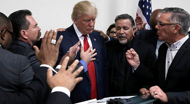 """""""All of your leaders are selling Christianity down the tubes,"""" Trump said in a election season meeting with Evangelicals."""