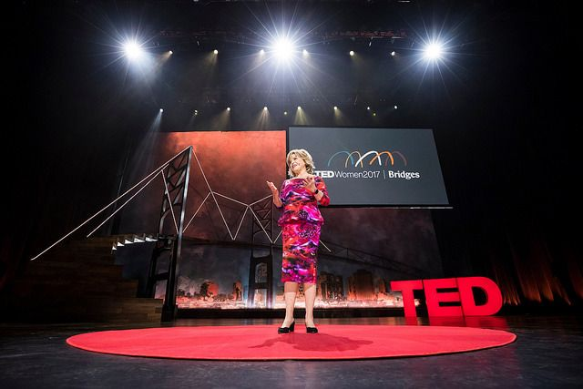 Host Pat Mitchell speaks at TEDWomen  2017 — Bridges, November 1-3, 2017, Orpheum Theatre, New Orleans,  Louisiana.