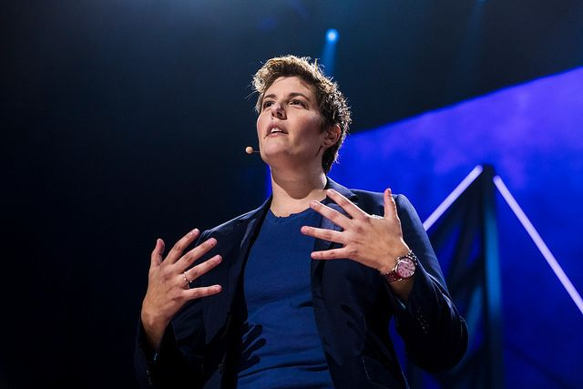 Sally Kohn speaks at TEDWomen 2017 —  Bridges, November 1-3, 2017, Orpheum Theatre, New Orleans, Louisiana.