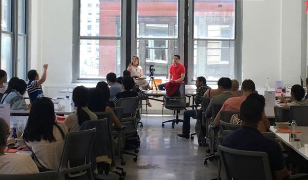 <em>Justin Zhen sharing his thoughts on entrepreneurship</em>
