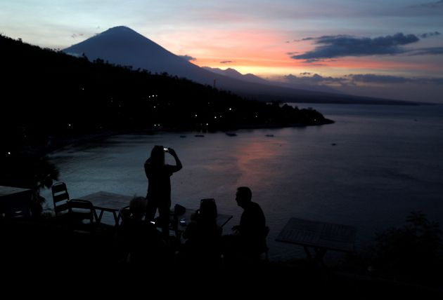 A more dormant view of Mount Agung taken at the beginning of