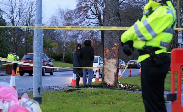 A woman at the scene of the crash in Stonegate Road,
