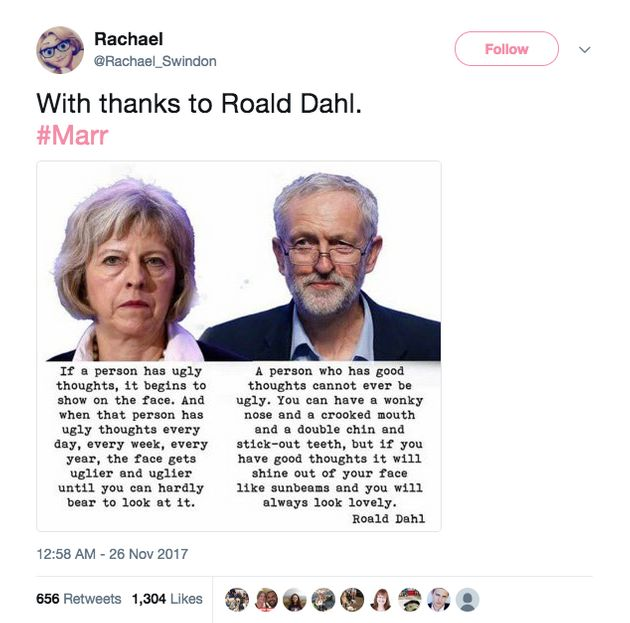 The original post used quotes from The Twits to suggest Theresa May is