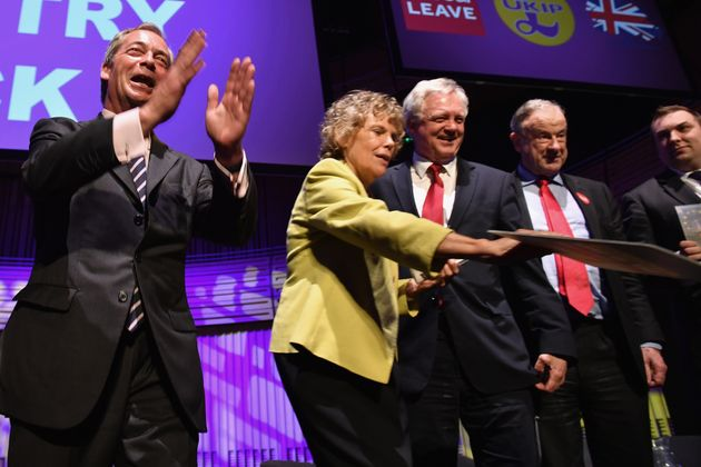 Hoey alongside Nigel Farage at the final 'We Want Our Country Back' rally before the EU referendum last
