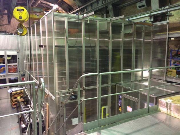 Inside the Laboratoire Souterraine de Modane. The plastic walls of a cleanroom protect the SuperNEMO...