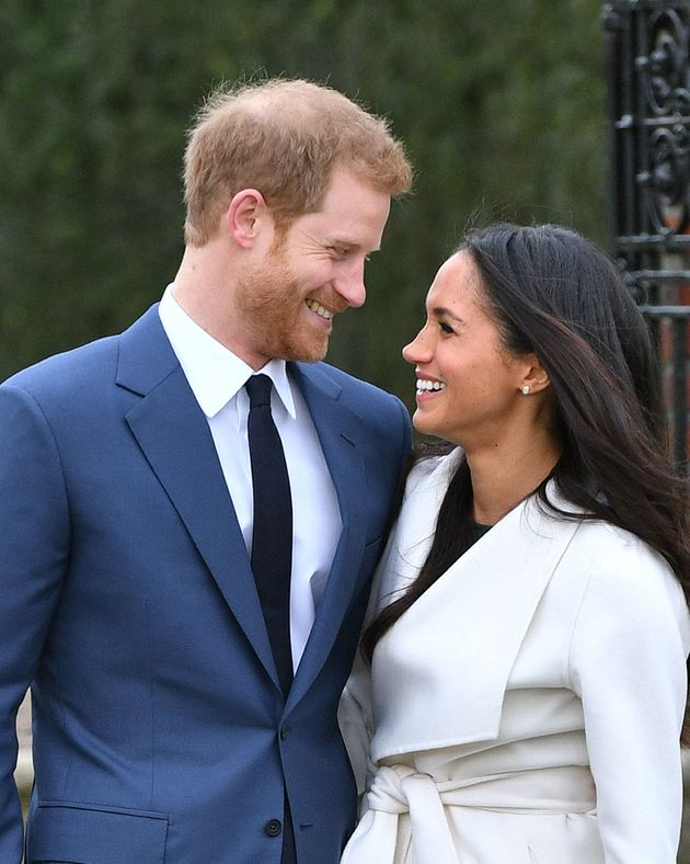 Prince Harry and Meghan Markle in the Sunken Garden at Kensington