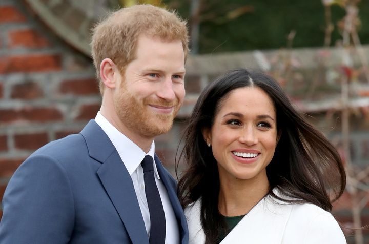 Actress Meghan Markle and Prince Harry on Monday, after announcing their engagement.