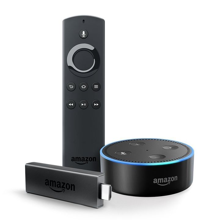 "<strong>Fire TV Stick + Echo Dot</strong> - <a href=""https://www.amazon.com/dp/B0758XXCSC?tag=thehuffingtop-20"" tar"