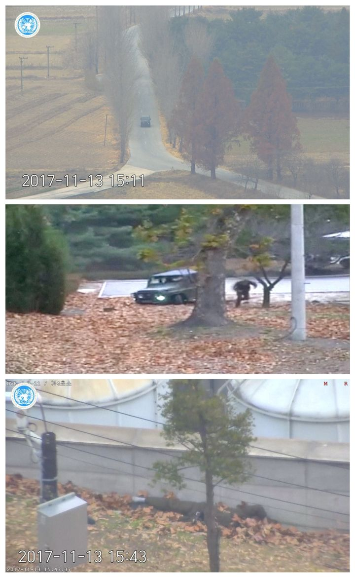 The North Korean soldier is seen driving a military vehicle towards the southern border (top) before abandoning his vehicle (