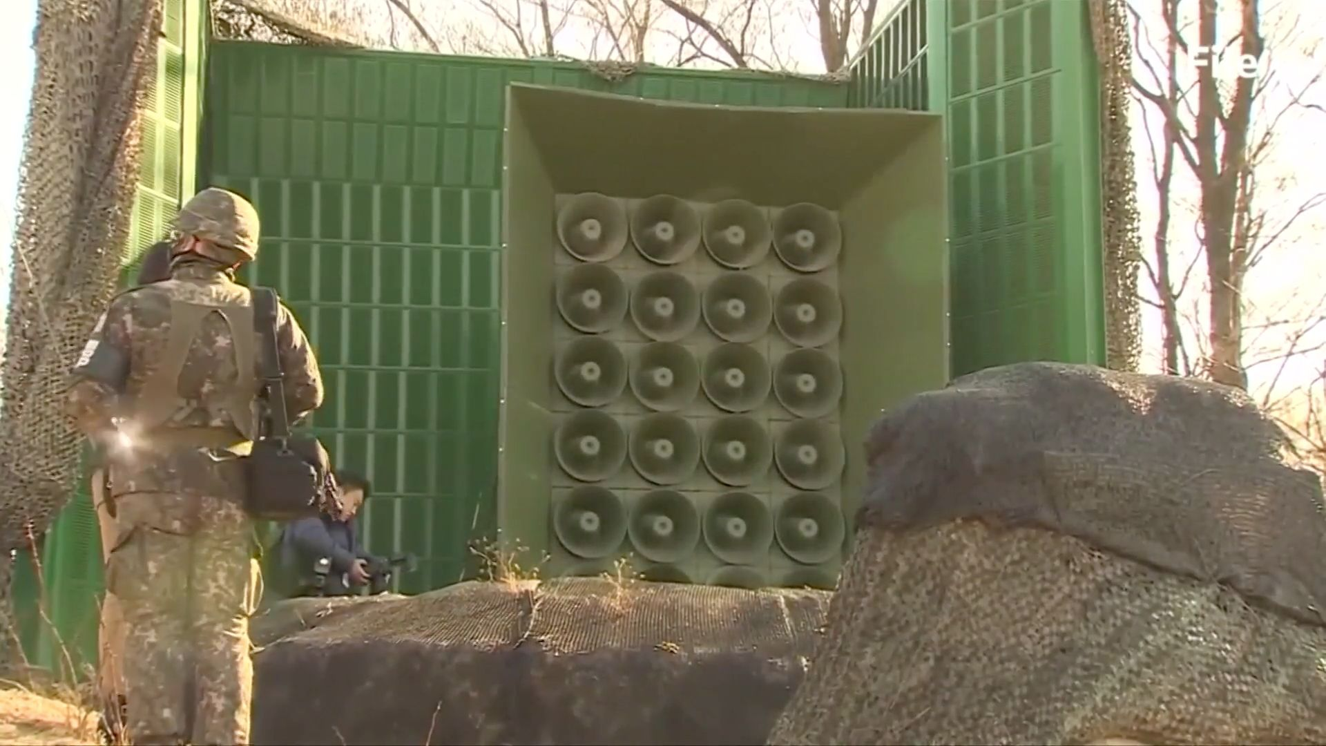 South Korea has reportedly been broadcasting updates on the condition of a deflecting North Korean soldier through loud speakers